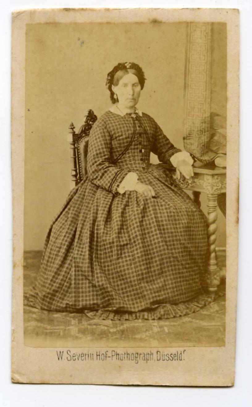 Civil War Cdv Photo Big Plaid Dress Lady Hoop Skirt Ebay